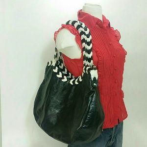Large Black & White  Pleather Shoulder Bag, Big